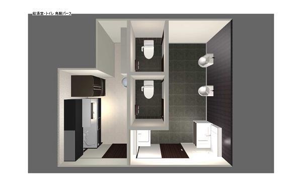 オフィス改装 給湯室・洗面トイレ鳥瞰図